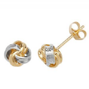 9ct two colour Gold ribbon knot stud Earrings